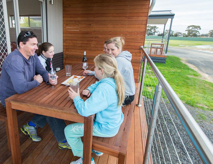 Family Deck Horsham Holiday Park Accommodation Grampians Victoria